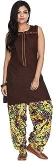 Cotton Brown Printed Patiala Set