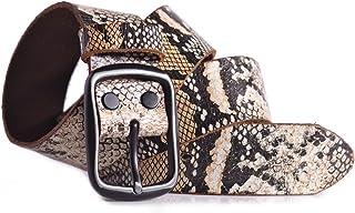 Distressed Snakeskin Leather Belt