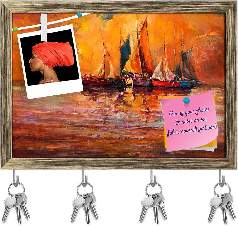 Artzfolio Artwork of Boats & Sea D5 Key Holder Hooks   Notice Pin Board   Antique golden Frame 14.3 X 10Inch