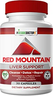 Red Mountain Liver Cleanse Detox Repair & Daily Support Supplement– Physician Formulated Detoxifier & Regenerator. Proven Ingredients- Milk Thistle (Silymarin), NAC, Dandelion Root 30 Vegan Capsules