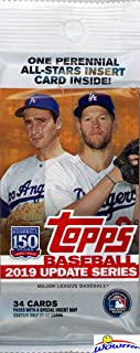 2019 Topps Update MLB Baseball EXCLUSIVE Factory Sealed JUMBO FAT PACK with 34 Cards including PERENNIAL ALL-STAR Insert! Look for RC & AUTOS of Vladimir Guerrero Jr, Fernando Tatis Jr & More! WOWZZER