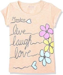 Montero Round Neck Cap Sleeves Printed T-Shirt For Girls