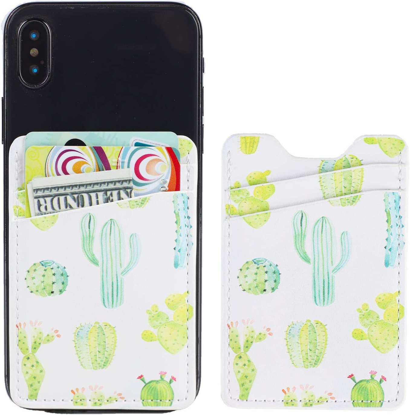 2Pack PU Leather Phone Pocket,Cell Phone Stick On Card Wallet,Credit Cards/ID Card Holder(Double Secure) with 3M Sticker for Back of iPhone,Android and All Smartphones (2 Green Cactus)