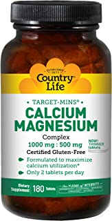 Country Life Target-Mins - Calcium Magnesium Complex, 1000 mg/500 mg per 2 Tablets - 180 Tablets