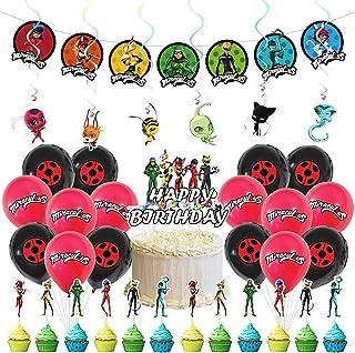 Miraculous Ladybug Décoration de Fête d'anniversaire, 36 Pièces Ladybug Gâteau Topper Anniversaire Bannière Ronde Latex Ba...