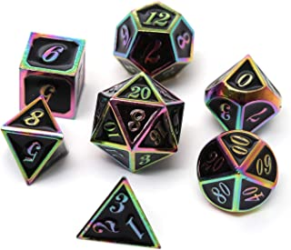 REDSUN D&D Metal Dice,RPG Dice Set,Polyhedral Solid Enamel Zinc Alloy ,New Font,for Role Playing Game Dungeons and Dragons (Rainbow Mirror Dragon dice 1)