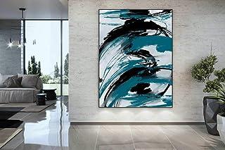 XIANRENGE Peinture À l'huile Peinte À La Main sur Toile,Peinture À La Main Art Moderne Résumé Simplicité Style Turquoise N...