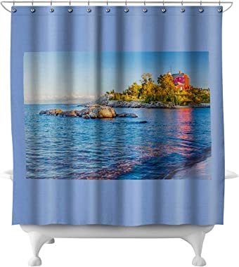Lake Superior, Michigan - Marquette Harbor Lighthouse A-9010048 (71x74 Polyester Shower Curtain)