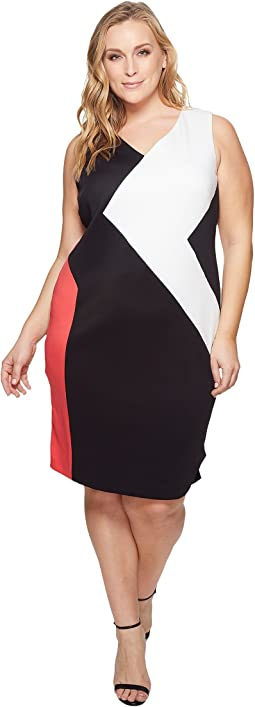 Plus Size 3 Color Block Dress
