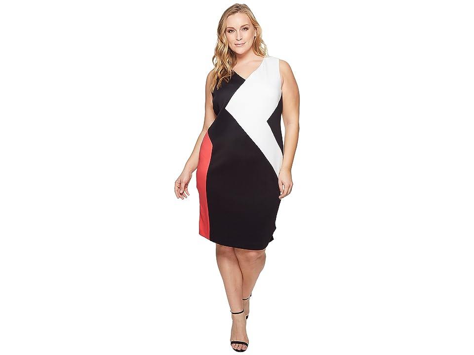 Plus Size Swing Dresses, Vintage Dresses Calvin Klein Plus Plus Size 3 Color Block Dress WatermelonBlack Womens Dress $139.50 AT vintagedancer.com