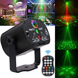 Party Lights,DJ Disco Stage Laser Lights Sound Activated Led Projector Time Function with Remote Control for Christmas Halloween Decorations Gift Birthday Wedding Karaoke KTV Bar