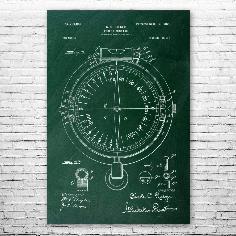 蔵 Patent Earth Pocket 数量限定アウトレット最安価格 Compass Blueprint Print Boy Poster