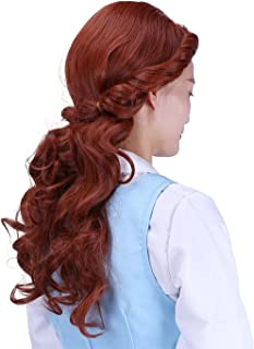 HDE Womens Adult Belle of The Ball Princess Wig Prestyled with Curl and Braid Brown
