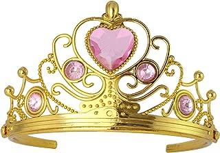 XiangGuanQianYing Princess Plastic Gold Tiara with Pink Rhinestones (1 pcs)