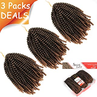 3Pcs/Pack Spring Twist Crochet Braiding Hair Nubian Twist Hair Bomb Twist Hair Fluffy Twist Hair Passion Twist Hair Ombre Colors Synthetic Hair Extensions #T-27