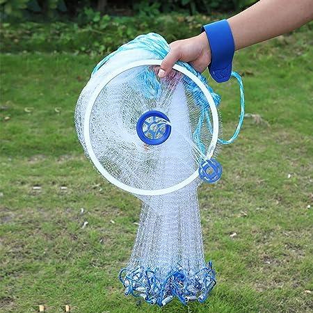 Full Spread Mesh Wire Hand Easy Throw Cast Fishing Nylon Net 2.4m-4.8m w// Sinker