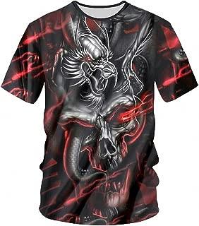 7XL T-Shirts Male Silver Dragon Skull 3D Print T Shirt Men O-Neck Summer Clothing Hip Hop T-Shirts