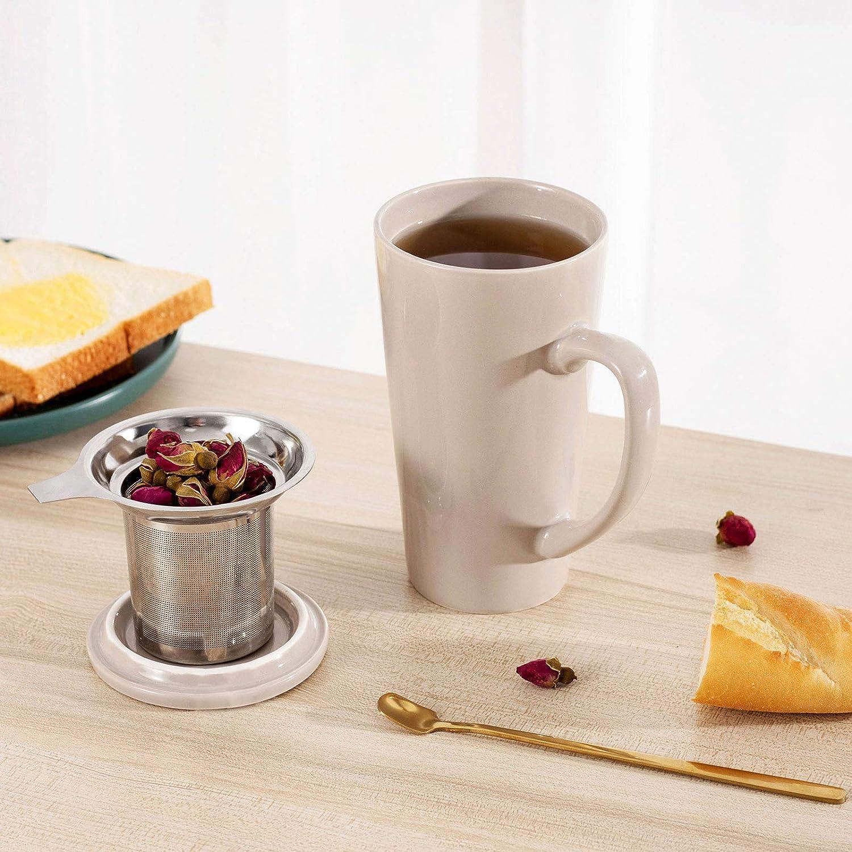 带不锈钢过滤器大陶瓷茶杯