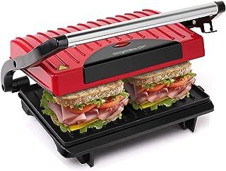 Aigostar Warme 30HHH - Grill multifonction, plancha, presse à paninis, appareil à sandwichs. 700W, plaques anti-adhésives,...