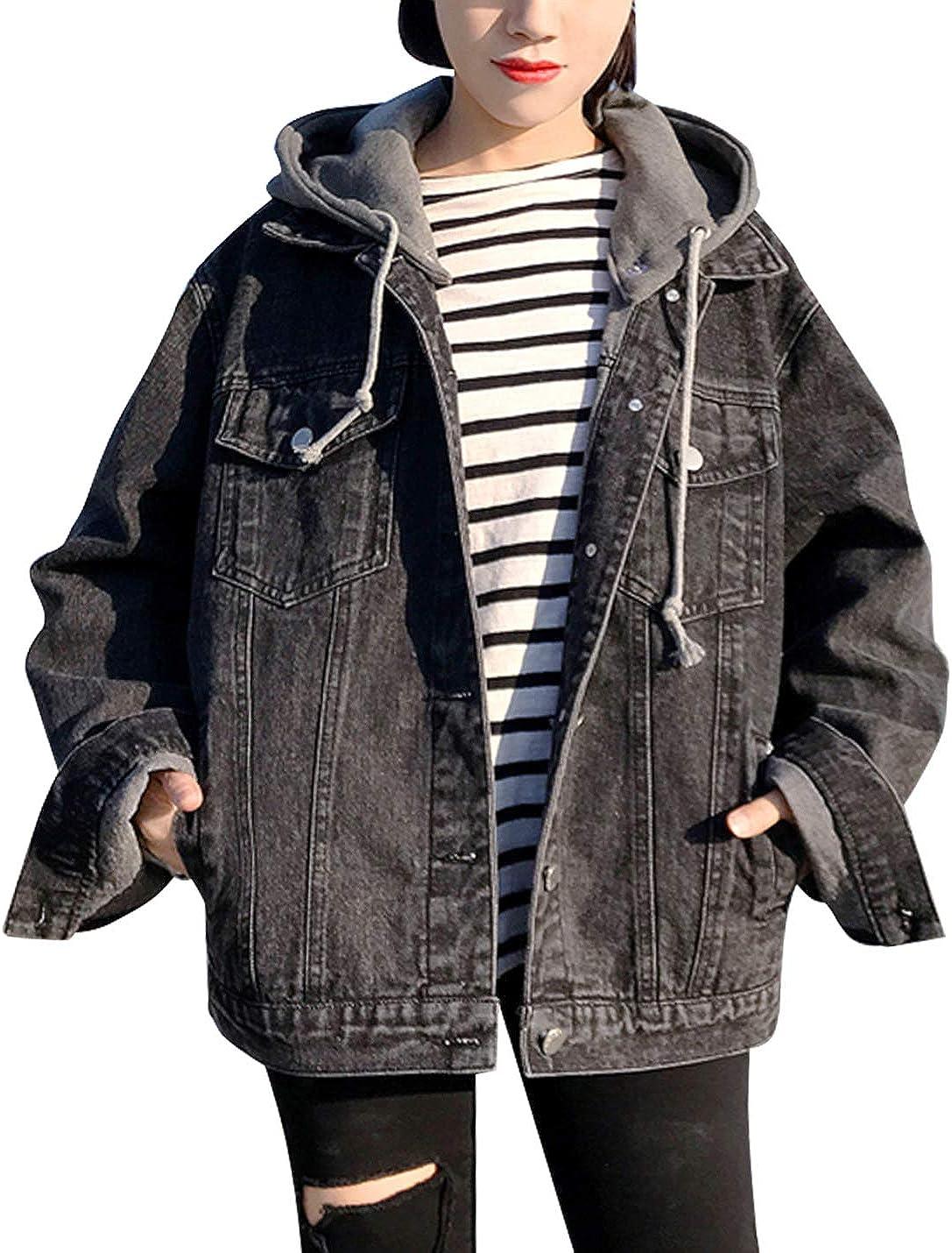 Omoone Women's Loose Baggy Detachable Hoodie Boyfriend Denim Jean Jacket Coats