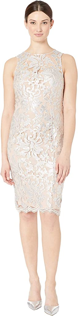 Sleeveless Sequin Embroidered Lace Sheath