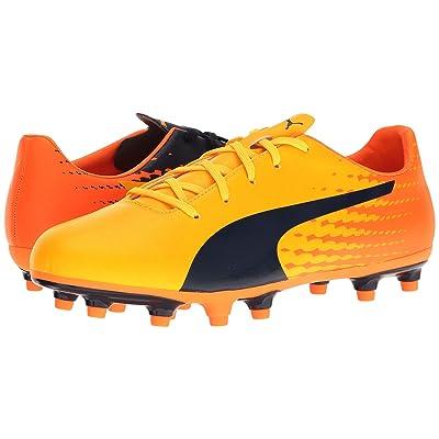Puma Kids evoSPEED 17.5 FG Jr (Little Kid/Big Kid) (Ultra Yellow/Peacoat/Orange Clown Fish) Kids Shoes