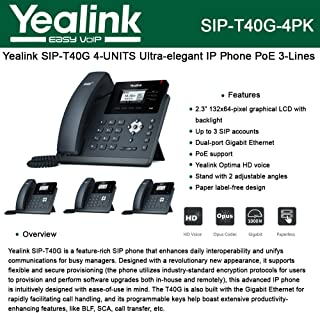 Yealink [4-Pack] T40G IP Phone, 3 Lines. 2.3-Inch Graphical LCD. Dual-Port Gigabit Ethernet, 802.3af PoE, Power Adapter Not Included (SIP-T40G-4)