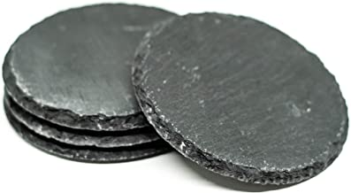 Black Round Slate Coasters Set of 4, Blank Coasters for Drinks, 10cm Diameter