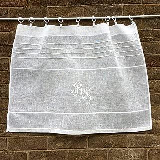 Custom Cafe Curtain Sheer Ivory Off White Cream Linen Gauze Personalized French Monogram