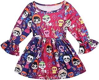 Halloween Toddler Girls Cartoon Skull Skeleton Coco Long Sleeve Party Dress Casual Dresses