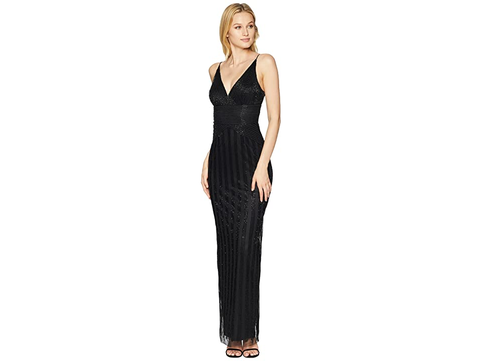 Adrianna Papell Long Sexy Beaded Column Gown (Black) Women