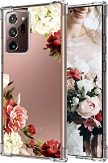 Compatible with Samsung Galaxy Note 20 5G 6.7 Inch Case 2020, White and Red Peony Floral Pattern Design Full Body Protecti...