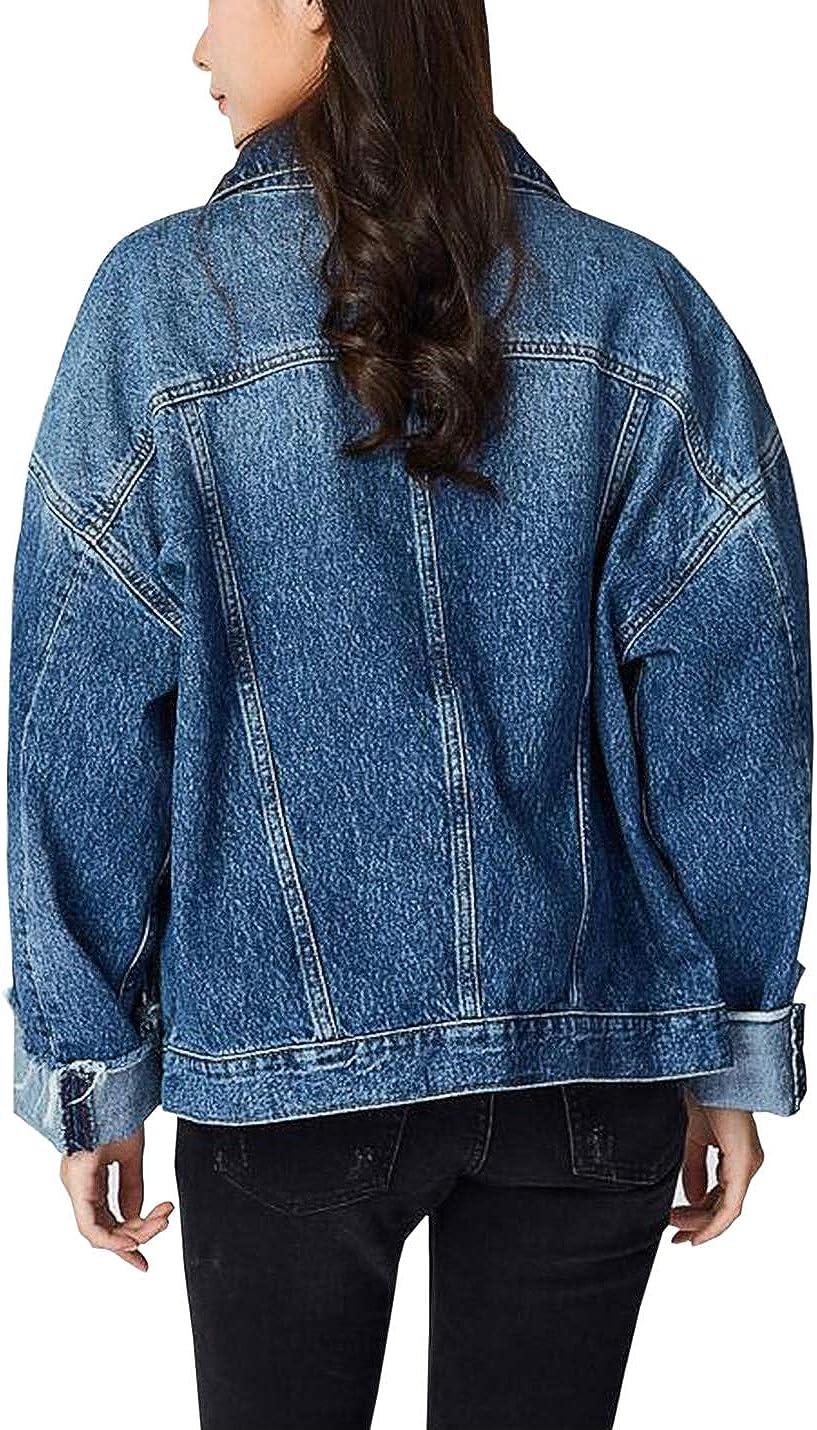 Gihuo Women's Boyfriend Distressed Denim Jacket Batwing Sleeve Frayed Jacket