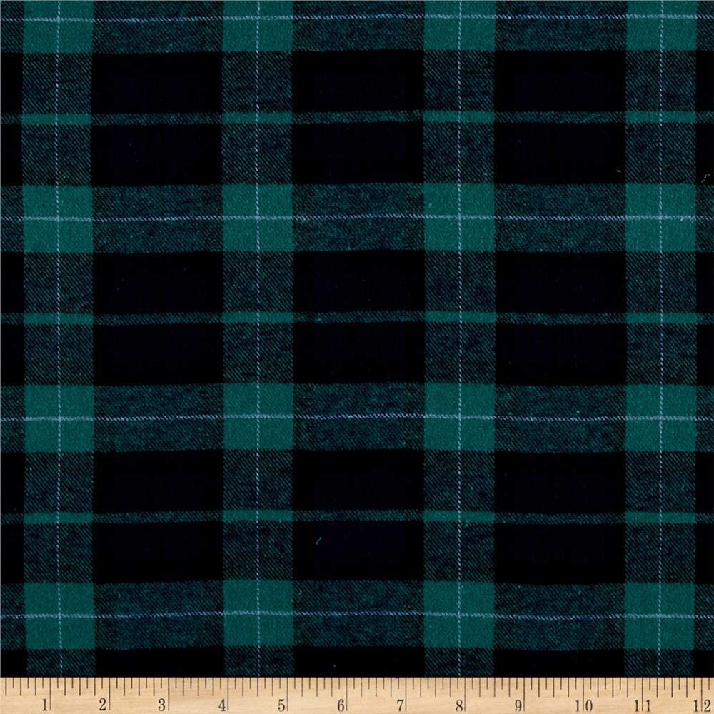 Yarn Dyed 67% Complete Free Shipping OFF of fixed price Flannel Plaid Green by Navy the Yard Fabric