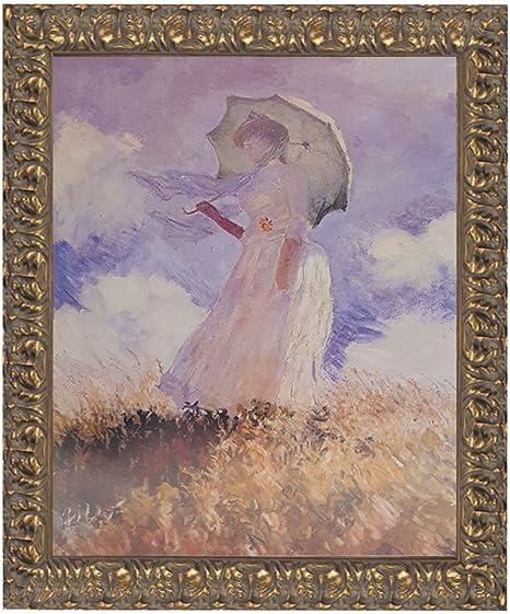 Femme à l/' ombrelle Wedge Frame Picture Canvas Woman Umbrella Classic Claude Monet