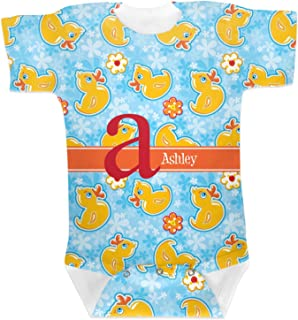 RNK Shops Rubber Duckies & Flowers Baby Onesie (Personalized)
