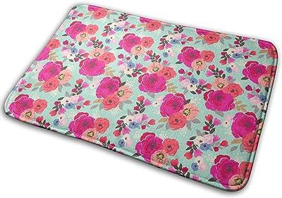 Sweet Pea Floral Aqua Carpet Non-Slip Welcome Front Doormat Entryway Carpet Washable Outdoor Indoor Mat Room Rug 15.7 X 23.6 inch