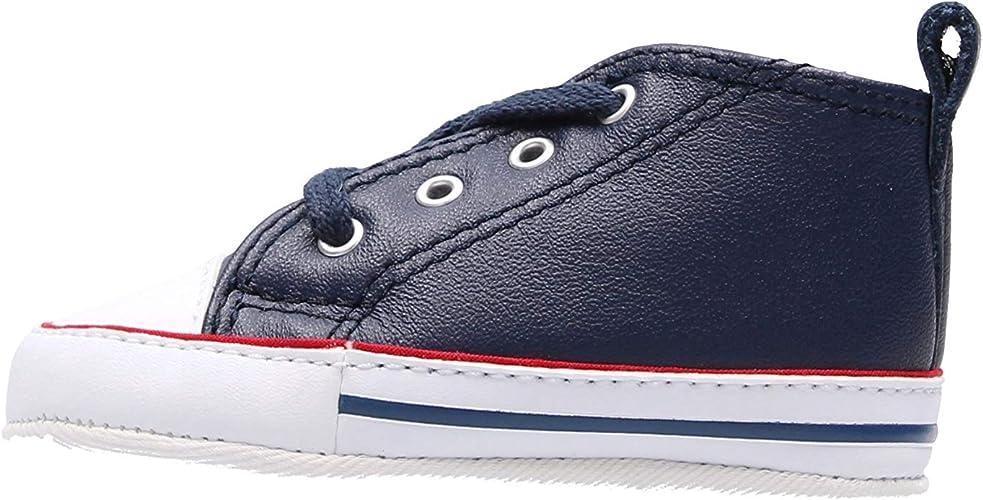 Converse 865862C Navy Blu Scarpe Snakers Unisex Culla all Star Mid Pelle