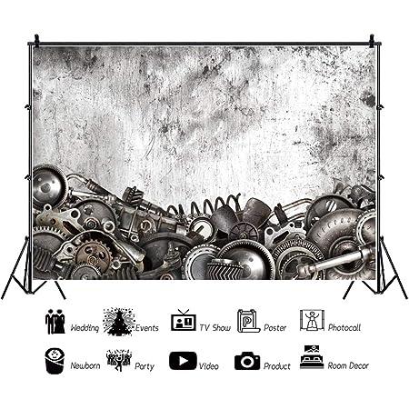 DaShan 20x10ft Retro Steampunk Backdrop Old Metal Gearwheel Vintage Photography Background Steam Machine Nostalgia Party Decoration Kids Adults Men Portrait Wallpaper Photo Studio Props