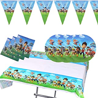 Paw Dog Patrol Theme Party Supplies Set For 20 Guest Includes 20 7inch Plates, 20 Nipkins, 1 Tablecloth, 1 Triangle Banner, Birthday Party