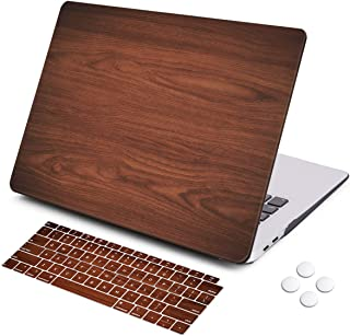iCasso MacBook Air 13 Inch Case 2018 Release A1932,Rubber Coated Cover with Keyboard Cover Compatible Newest MacBook Air 13 Inch with Retina Display fits Touch ID (Brown Wood)