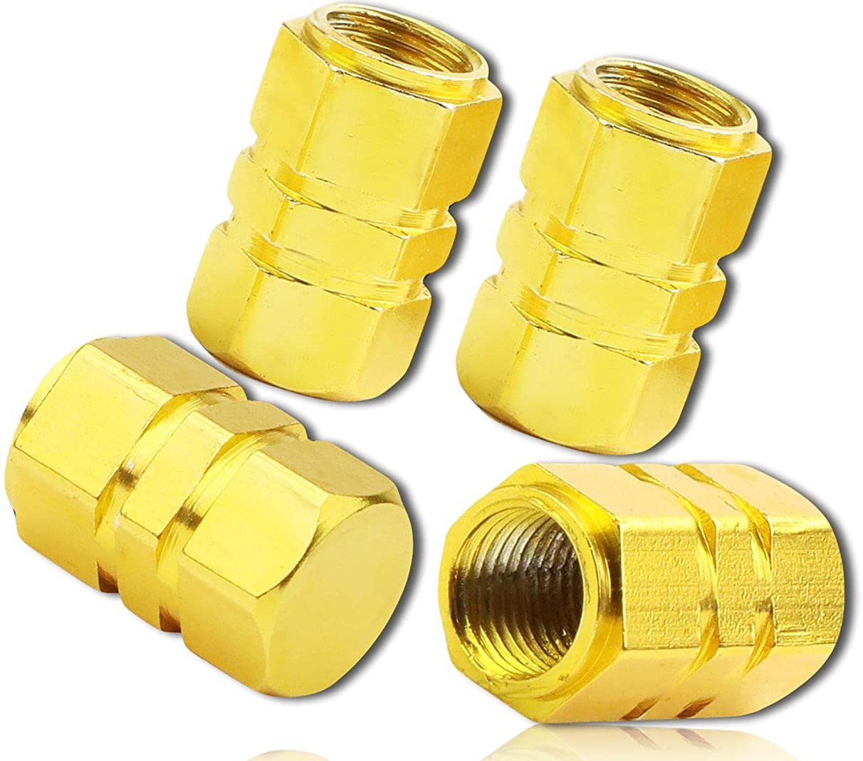 (4 Count) Custom Tire Wheel Rim Valve Stem Dust Cap Cover Seal w/ Easy Grip Texture, Made of Rust Proof Aluminum Metal w/ Tall Reflective Shiny Hex 6 Sided Head Sunshine Tone {Yellow} + Certificate