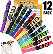 GAMUDA Puppy Collars – Super Soft Nylon Whelping Puppy ID - Adjustable Breakaway Litter Collars Pups – Assorted Colors Plain & Identification Collars with 2 Record Keeping Charts – Set of 12