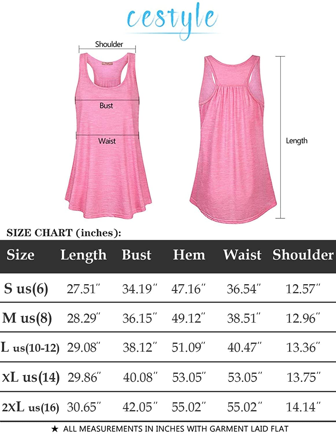 Cestyle Womens Sleeveless Scoop Neck Flowy Workout Racerback Tank Tops: Clothing