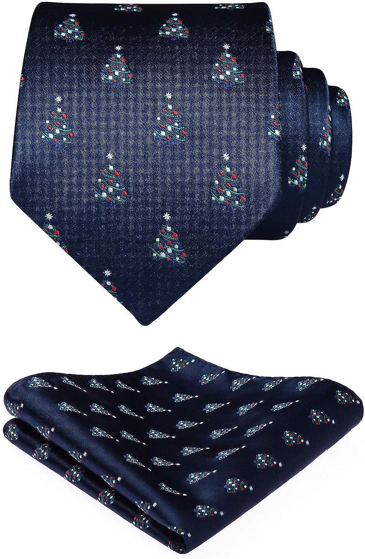 Enlision Men's Funny Tie Handkerchief Jacquard Woven Classic Necktie & Pocket Square Set Holiday Christmas