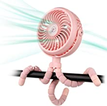 Amacool Battery Operated Stroller Fan Flexible Tripod Clip On Fan with 3 Speeds and Rotatable Handheld Personal Fan for Car Seat Crib Bike Treadmill (Pink)