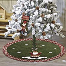QTIVY Christmas Tree Skirt & Stocking 48 inches Luxury Christmas Burlap Tree Skirts with White Snowflake Printed and 3D Santa Claus Pattern for Christmas Holiday Party Decorations Indoor (Santa Claus)