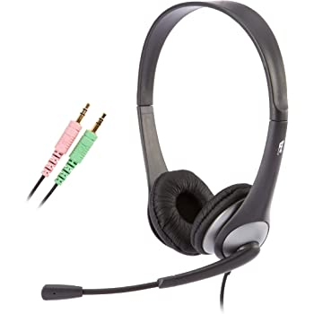 Cyber Acoustics Stereo Headset, headphone with microphone, great for K12 School Classroom and Education (AC-201),Silver