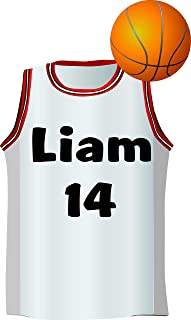 Basketball Jersey Personalized Custom Name Wall Decals Wall Design Stickers Vinyl Removable Children Kids Rooms Girls Boys...