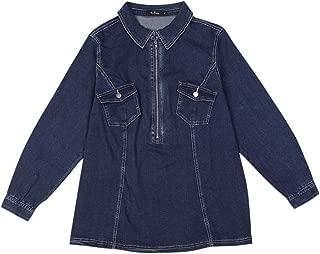 Agnes Orinda Women's Plus Size Denim Jacket Zip Up Washed Jean Denim Jackets Shirt